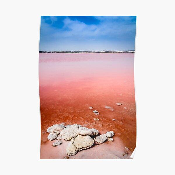 Pink salt lake and salt crystals at Torrevieja  Poster