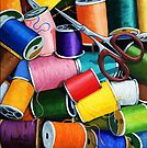 Threads - Colorful Sewing Thread painting by LindaAppleArt