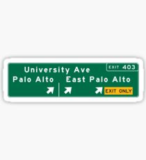 Palo Alto, Road Sign, California Sticker