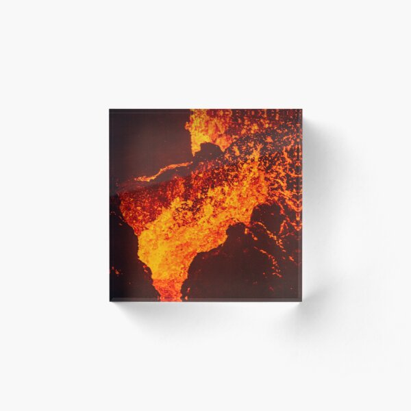 Volcano Crater Night Iceland April 20th 2021 Acrylic Block