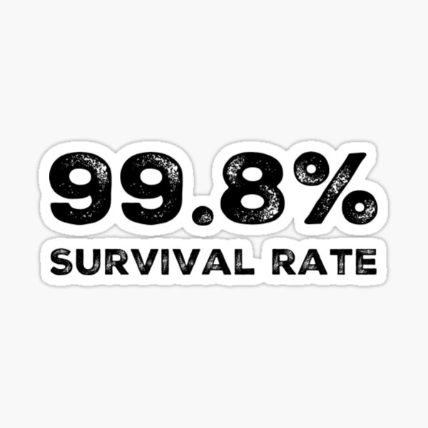 99.8% Survival rate distressed white text Sticker