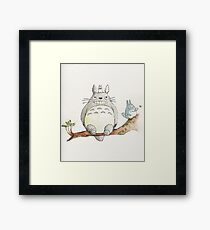 TOTORO WATERCOLOR - STUDIO GHIBLI - Painting. Framed Print
