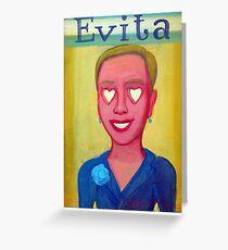 Evita y corazones by Diego Manuel Greeting Card