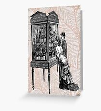 Victorian Steampunk Wine Shopping Couple Greeting Card