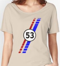 VW 53, the Love Bug's racing stripes and number 53 Women's Relaxed Fit T-Shirt