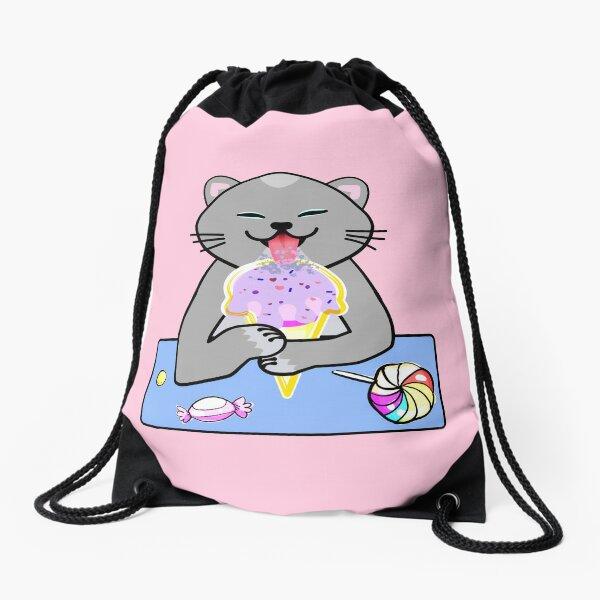 Cute cat licking ice cream cone Drawstring Bag