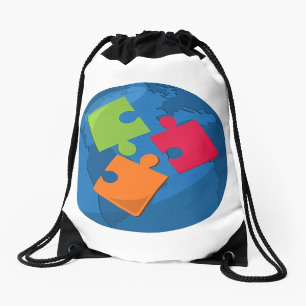 puzzle with globe for autism awarness Drawstring Bag