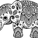 Cute Elephant Illustration Black Floral Paisley  by artonwear