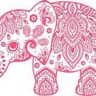 Cute Pink Elephant Vintage Floral Paisley Illustration by artonwear