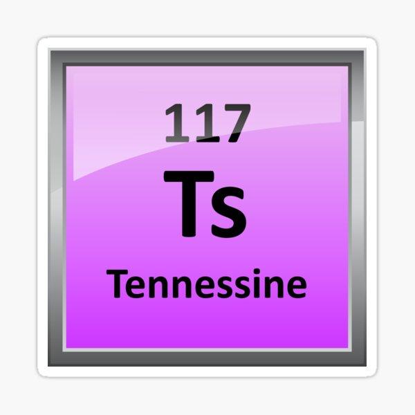 Tennessine or Element 117 Periodic Table Symbol Sticker