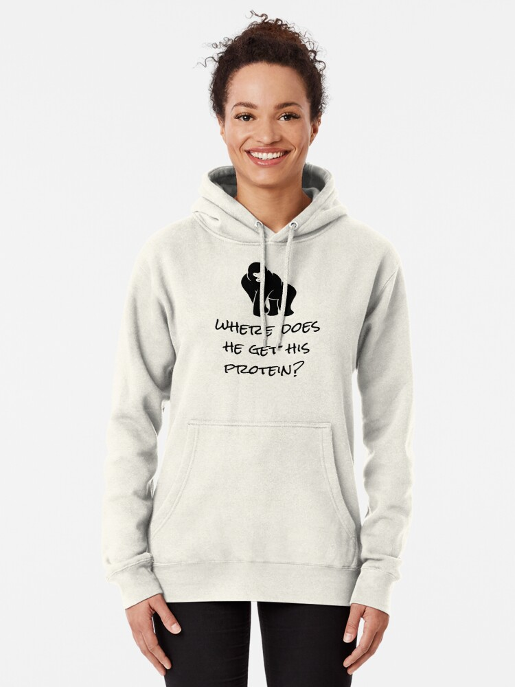 Alternate view of Where Does He Get His Protein? Vegan Foods, Gorilla Muscles. Pullover Hoodie