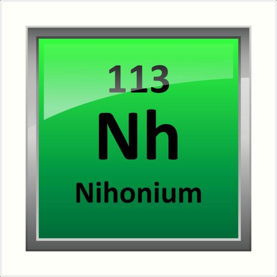 Nihonium or element 113 periodic table symbol art prints by nihonium or element 113 periodic table symbol urtaz Image collections