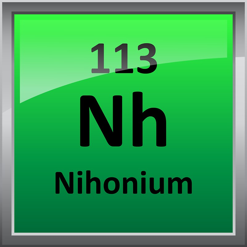 nihonium or element 113 periodic table symbol stickers