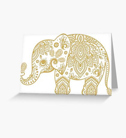 Gold Glitter Cute Elephant Floral Paisley Illustration Greeting Card