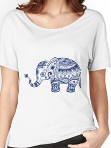 Royal Blue Cute Elephant Tribal Floral Design Women's Relaxed Fit T-Shirt