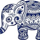 Royal Blue Cute Elephant Tribal Floral Design by artonwear
