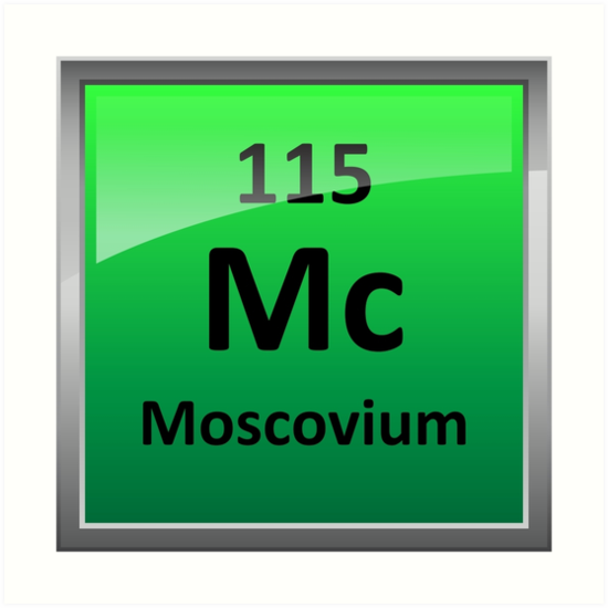 Moscovium Or Element 115 Periodic Table Symbol Art Prints By
