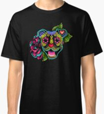 Smiling Pit Bull in Brindle - Day of the Dead Happy Pitbull - Sugar Skull Dog Classic T-Shirt