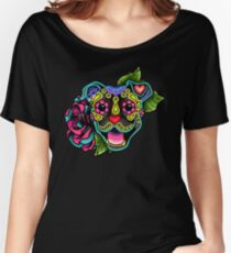 Smiling Pit Bull in Brindle - Day of the Dead Happy Pitbull - Sugar Skull Dog Women's Relaxed Fit T-Shirt