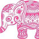 Cute Pink Elephant Tribal Flowers Illustration by artonwear