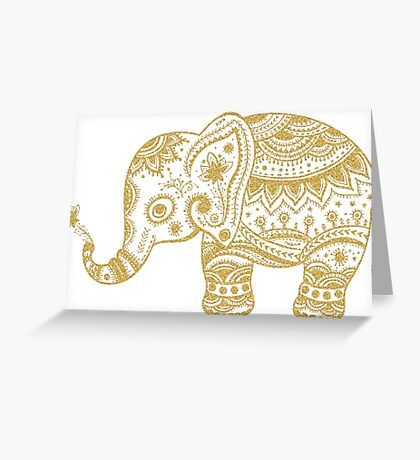 Cute Floral Elephant Gold Glitter Texture Greeting Card