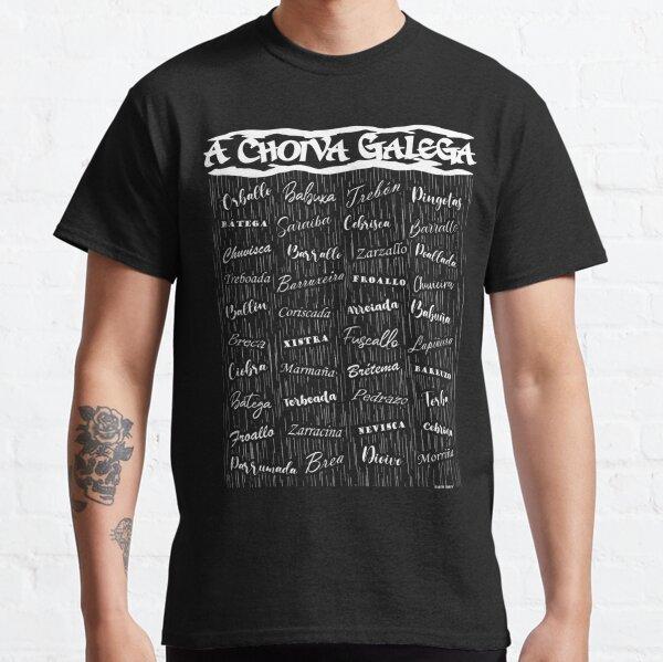 Camiseta en GALEGO. Nombres de la lluvia gallega. Camiseta clásica