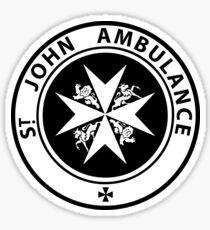 St. John logo on a Blue Box Sticker