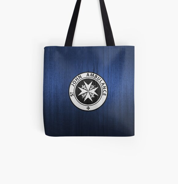 St. John logo on a Blue Box All Over Print Tote Bag