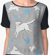 Wolves & Winter Roses Chiffon Top