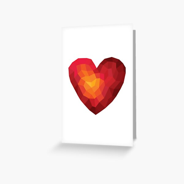 Fiery heart in abstract triangles - polygons style Greeting Card