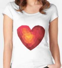 Fiery heart in abstract triangles - polygons style Women's Fitted Scoop T-Shirt