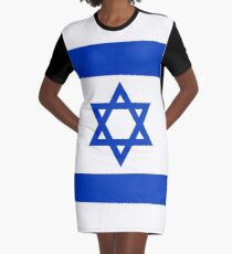 National flag of the State of Israel - high quality authentic file Graphic T-Shirt Dress