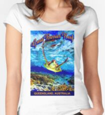 """""""GREAT BARRIER CORAL REEF"""" Australia Travel Print Women's Fitted Scoop T-Shirt"""