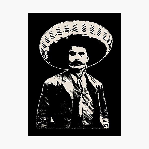Emiliano Zapata - bichrome black / creme-white Photographic Print