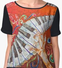 Crazy Fingers Piano Batik by Sue Duda Women's Chiffon Top