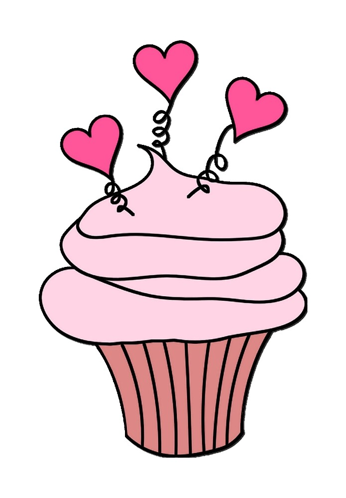 Cute Pink Hearts Cupcake Pattern by HavenDesign