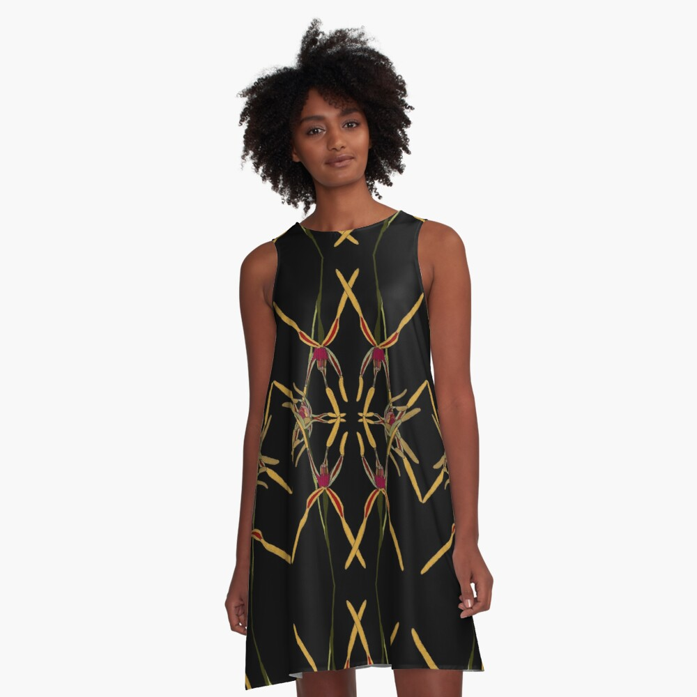Reaching Spider Orchid Mirror Design Western Australia A-Line Dress
