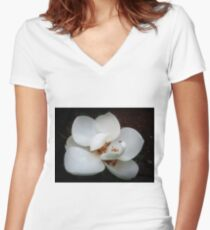 White Women's Fitted V-Neck T-Shirt