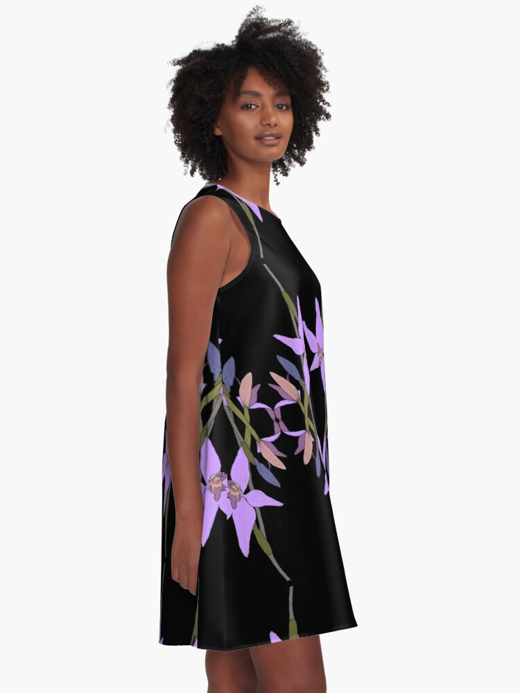 Alternate view of Pink Fairy Native Orchid Mirror Design A-Line Dress