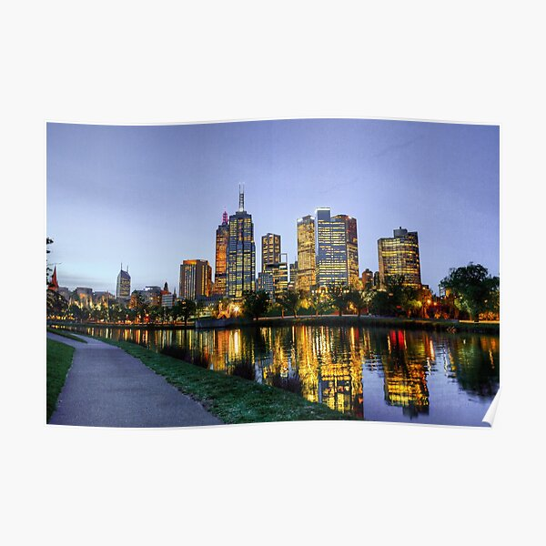 Looking Across the Yarra River Towards Melbourne City Poster
