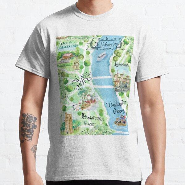 Bucks County Pennsylvania Watercolor Illustrated Map Classic T-Shirt