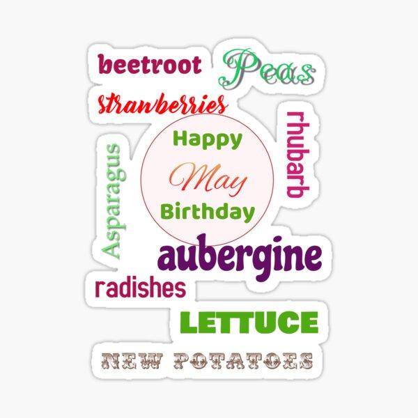Happy May Birthday seasonal veggies Sticker
