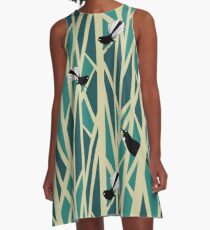 Tui and Fantail on Trees A-Line Dress