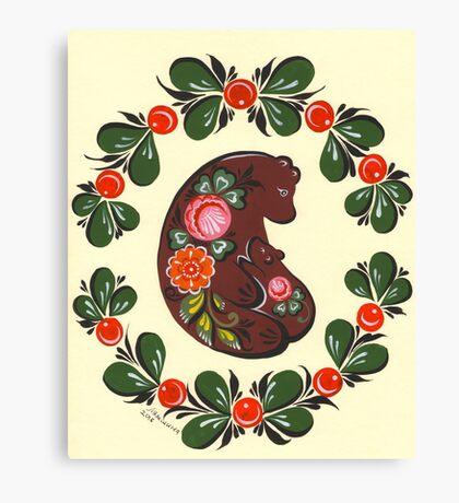 Mama bear and baby bear Canvas Print