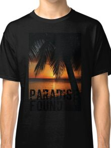 Paradise Found Tropical Palm Tree Orange Silhouette Graphic Print Classic T-Shirt
