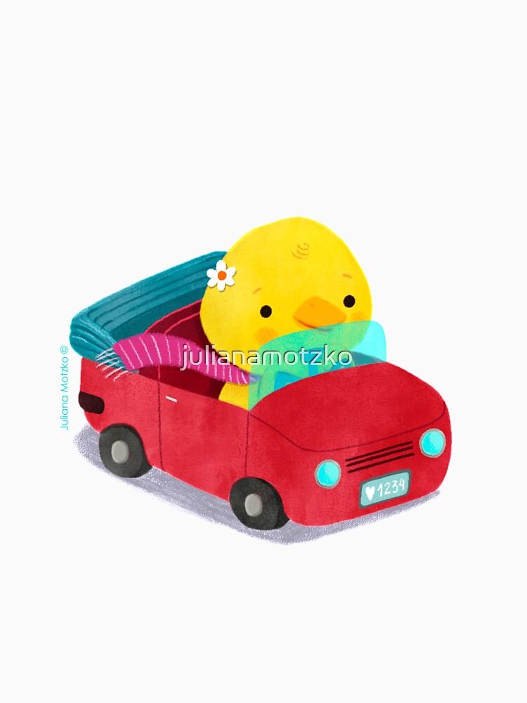 Miss Duck driving a car by julianamotzko