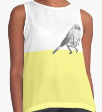 Little bird on yellow block / hand drawn ink bird on solid colour perch Contrast Tank