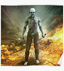 Crazy Scary Monster Apocalyptic Scene Poster