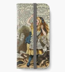 Alice In The Wonderland,Alice and Playing Cards,Vintage Dictionary Art iPhone Wallet/Case/Skin