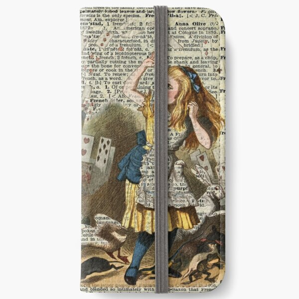 Alice In The Wonderland,Alice and Playing Cards,Vintage Dictionary Art iPhone Wallet